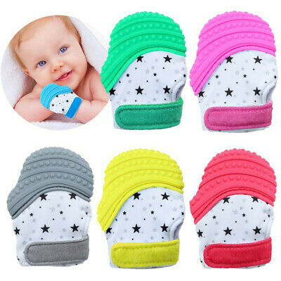 Baby Silicone Mitts Teething Mitten Molars Glove Wrapper Sound Teether Toy Gifts