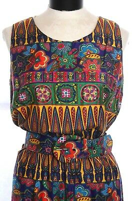 Vintage Colorful Psychedelic Floral Flowers Geo Belted Maxi Dress Boho Hippie