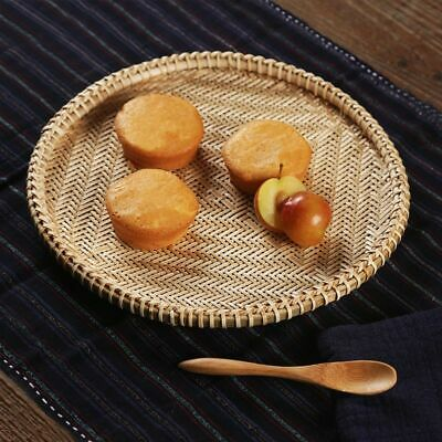 Rattan Wicker Basket Plate Bamboo Weaving Chinese Style Food Storage Table Cases