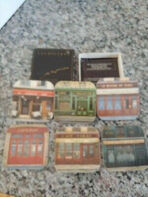 "COLLECTIBLE: Vintage Box of 6 Coasters ""Les Bistros"" by Andre Renoux- NEVER USED"