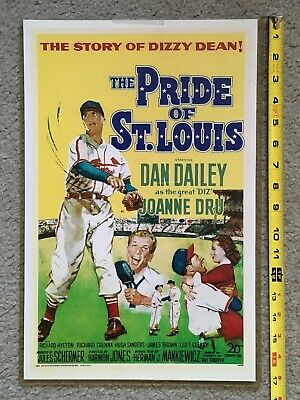 1952 Color Lithograph Poster DIZZY DEAN The Pride Of St. Louis Cardinals MLB VTG