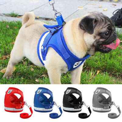 Dog Harness Pug Nylon Mesh Puppy Cat Harnesses Vest Reflective Walk Lead Leash