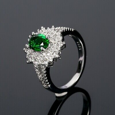 Vintage 925 Silver Emerald Gems Ring Wedding Bridal Jewelry Gifts Women Sz 6-10