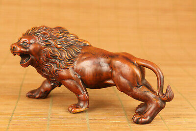 Antique chinese old boxwood hand carved leo lion statue collection hand piece
