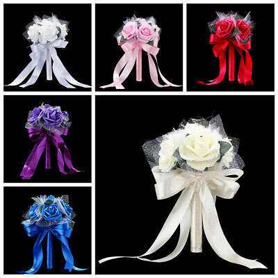 Romantic Crystal Flower Rose Bouquet Wedding Bride Bridesmaid Flower-Girl Wand -