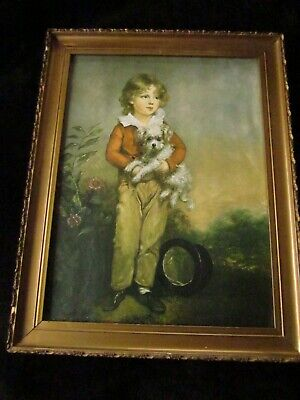 Quality Antique Early 20th Century Print Boy Poodle Arthur William Devis Framed
