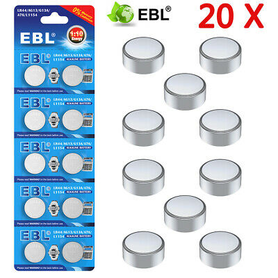 20 X GENUINE EBL Button Cell Battery LR44 AG13 G13A A76 L1154 Alkaline Battery