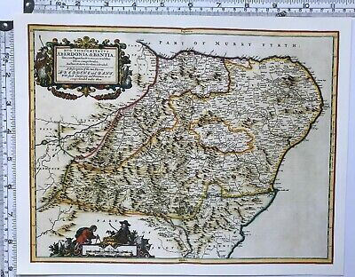 Historic Antique vintage Old Map of Aberdeen & Banff, Scotland 1600's: REPRINT