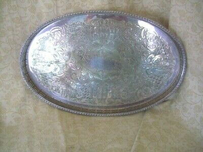 VINTAGE OVAL SILVER PLATED FLORAL PATTERNED GALLERY TRAY~40 x 26cms