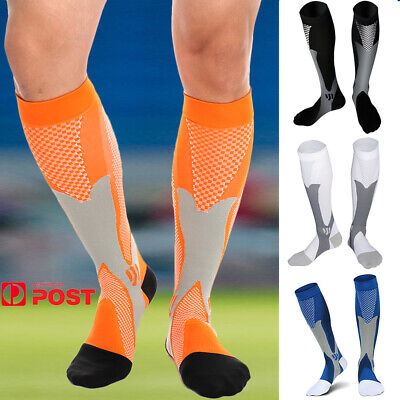 Mens Compression Socks 20-30 mmhg Sports Knee High for Running Fitness Winter AU