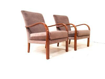 Pair of Art Deco Armchairs 1930s 1940s Club Chairs Vintage New Upholstery Olive