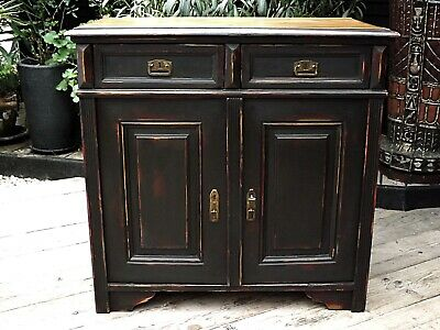 Wow Old Antique Pine/black Painted Base/sideboard/cupboard/cabinet - We Deliver!