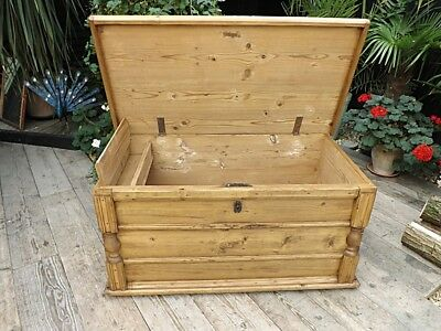 Wow! Large Old Antique Pine Blanket Box/Chest/Trunk/Table/Storage. We Deliver!