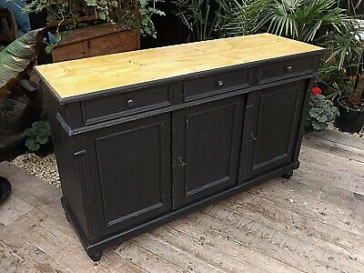 Old Antique Style Pine/ Black Painted Sideboard/cabinet/base/cupboard We Deliver