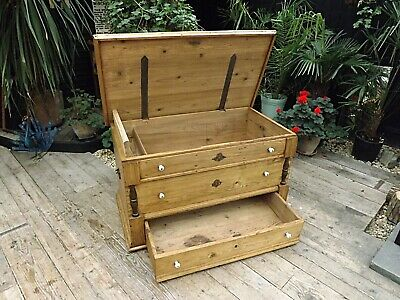 Fab! Old Antique Pine Blanket Box/ Drawer! Mule Chest/trunk/storage. We Deliver!