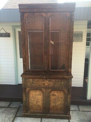 Victorian Inlaid  Walnut Veneer Secretaire Bookcase