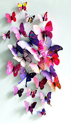 Red 12Pcs PVC 3D Wonderful Art Butterfly Design Wall Stickers Decals Home Decor