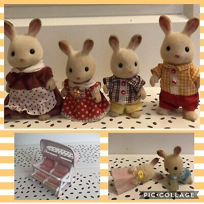 Sylvanian Families - Chocolate rabbit family and twins with double pram