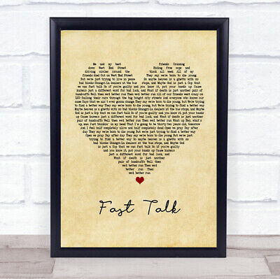 Fast Talk Vintage Heart Quote Song Lyric Print
