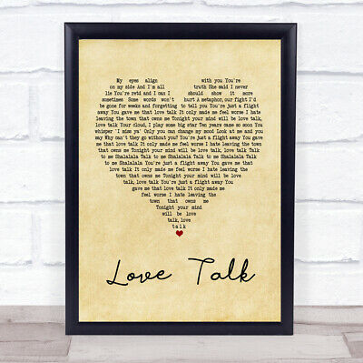 Love Talk Vintage Heart Quote Song Lyric Print