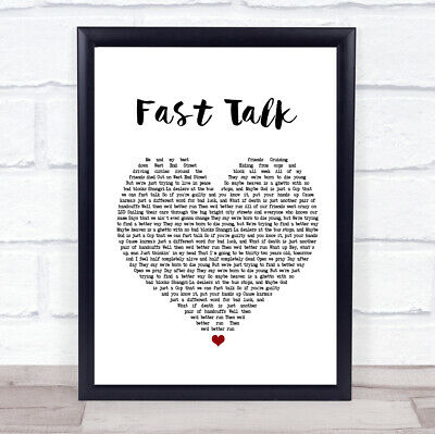Fast Talk Heart Song Lyric Quote Print