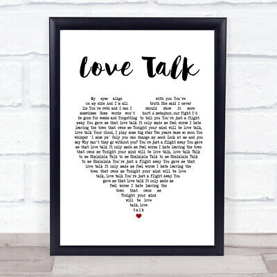 Love Talk Heart Song Lyric Quote Print