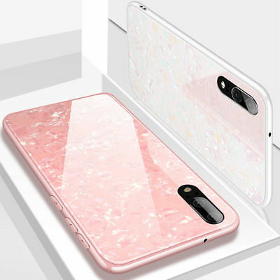 Shockproof Marble Tempered Glass Back Case Cover For Huawei P20 Plus Honor 10 7C
