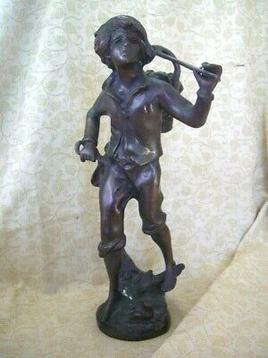 "Antique vintage french spelter figure ~ 14"" tall"