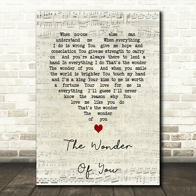 The Wonder Of You Vintage Heart Song Lyric Quote Print