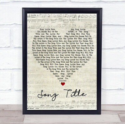 Any Song Lyrics Custom Script Heart Wall Art Quote Personalised Lyrics Print