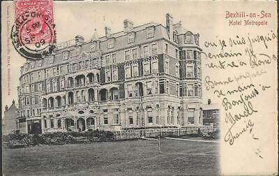 Bexhill-on-Sea, E Sussex - Hotel Metropole - UB postcard local pmk to Paris 1909