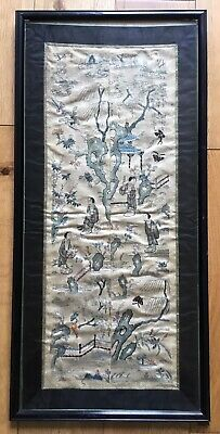 Old Vintage Antique Oriental Chinese Or Japanese Framed Silk Embroidery Panel