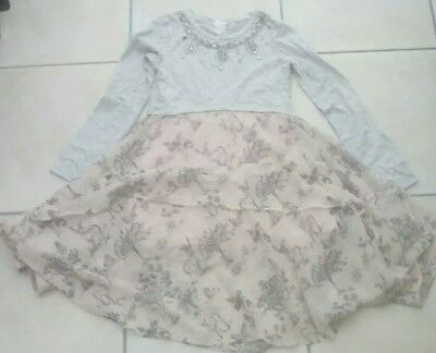 girls designer dress age 7 yrs peach/grey