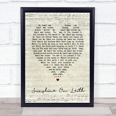 Sunshine On Leith Script Heart Song Lyric Quote Print