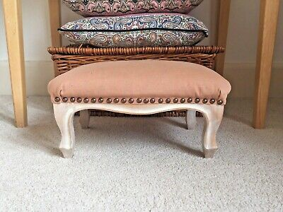 Antique Hardwood Frame Small Footstool