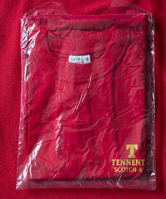 TENNENT'S red t-shirt vintage birra SCOTCH ALE beer pubblicita Maglia size L