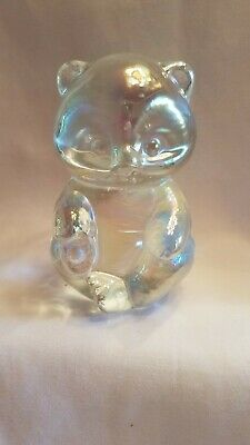 FENTON Art Glass Bear Clear Opalescent Sitting Figurine Paperweight