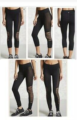 8afaafa99007bc forever 21 Bundle2 Black Mesh Side Slashed Active Athletic Capri Leggings  Sz Med