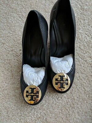 779bd2c8949a Tory Burch Sophie Wedge - Mestico Leather Black Gold Size 7.5 with Box