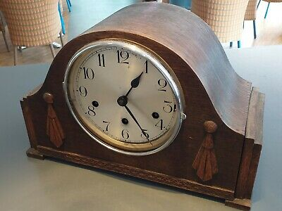 ANTIQUE 1930's art deco inspired OAK clock mantle mantel vintage FREE UK POST