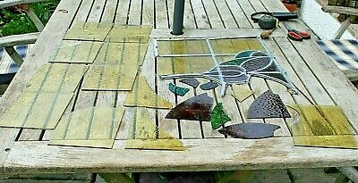 vintage stained glass pieces project spares