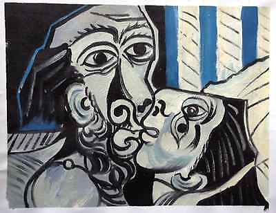 PABLO PICASSO € HAND PAINTED OIL after Picasso 1969 THE KISS $ RARE ART VERSION