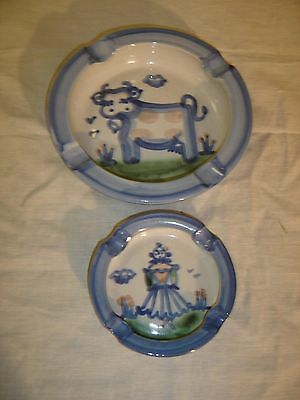 M A Hadley Country Scene 2 Ash Tray Cow and Farmer's Wife 8533