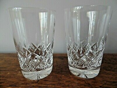 Two Stuart Crystal Glass Glengarry Tumblers 3 1/2 Inch 1St Quality Signed