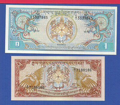 Bhutan 1 Ngultrum P-5 & 5 N. P-14a (1981 & 1985) UNC see Description
