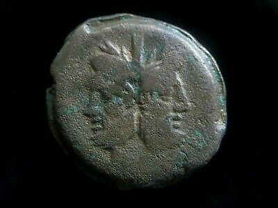 Roman Republic Anonymous AE As, Double-Head of Janis, Galley reverse NGC  AC0215