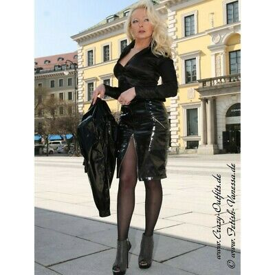 Crazy Outfits Jupe Vinyl PVC Noir Schwarz Black rock Wetlook PU skirt US 10 M40