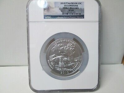 2010 American the Beautiful Silver 5 Ounce 25C Uncirculated YELLOWSTONE NGC SP69