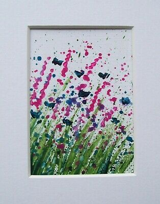 Original Abstract Flowers Signed Landscape Miniature Aceo Painting