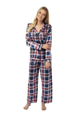 Ladies Brushed Cotton Lined Warm Winter Satin PJs Pyjamas Jammies Set